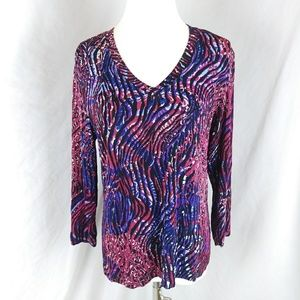 Chicos travelers zebra pink black boho blouse top